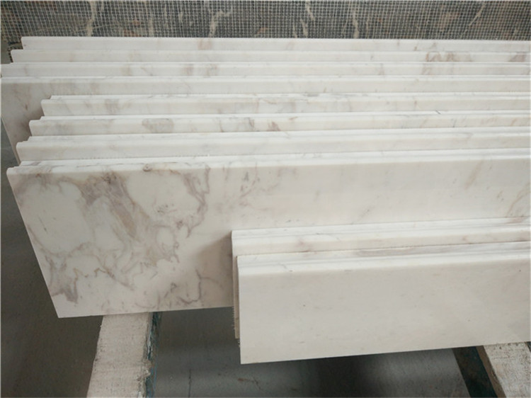 White Marble from Greece, Volakas White Marble Stairs and Riser