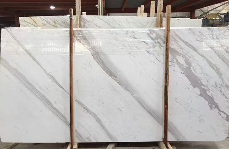 Volakas White Polished Marble Slabs for Vanity Tops