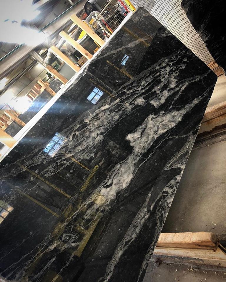 Wave Black Slab Polished Marble Slabs