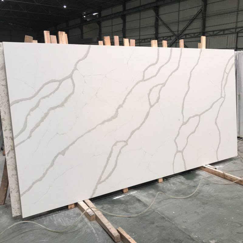 White Artificial Quartz Slab For Kitchen Countertops