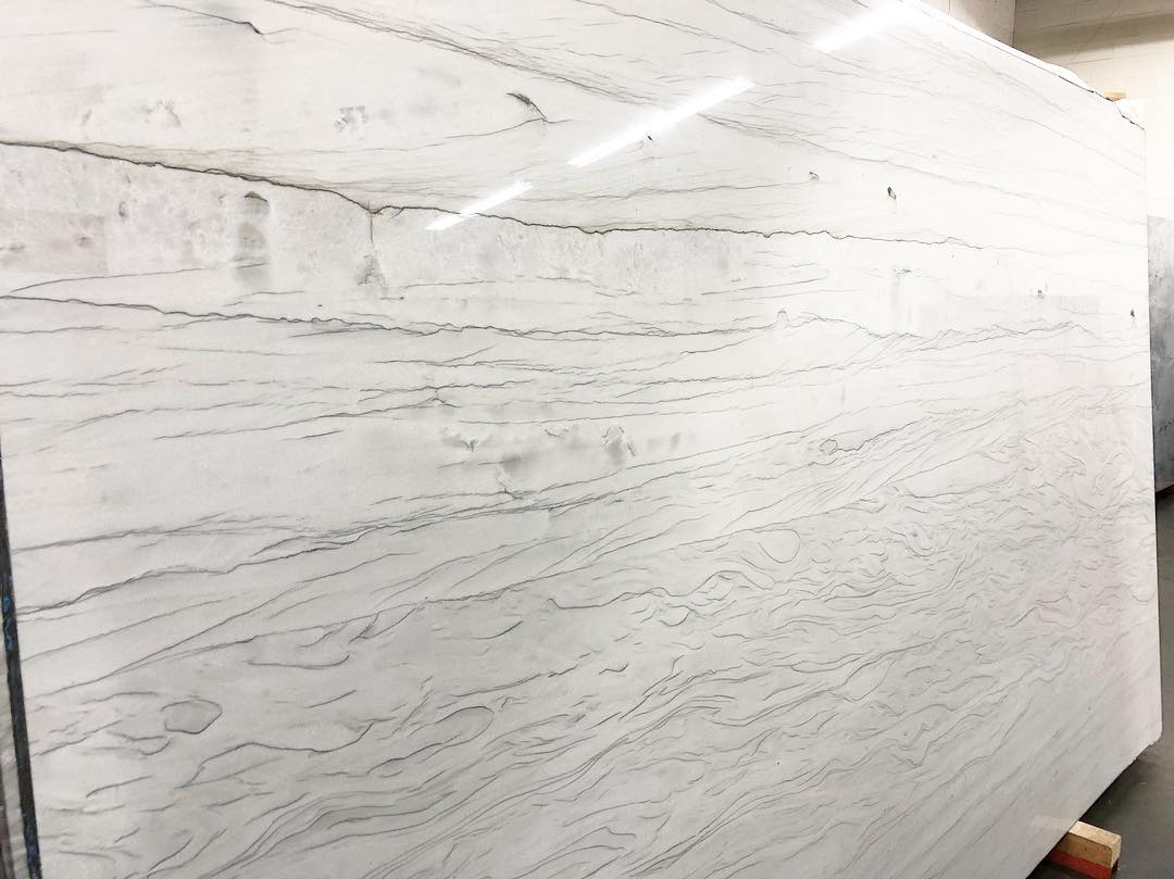 White Bamboo Quartzite Polished White Natural Stone Slabs