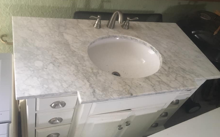White Bathroom Vanity Polished Marble Vanity Tops