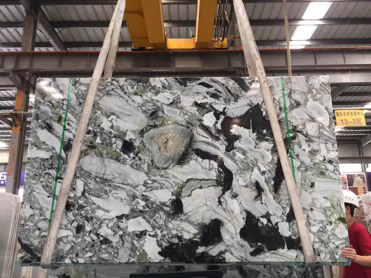 White Beauty Chinese Green Ice Green Marble Slabs