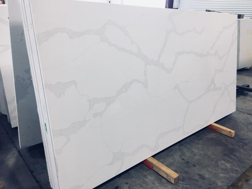 White Calacatta Nova Quartz Countertop Slab