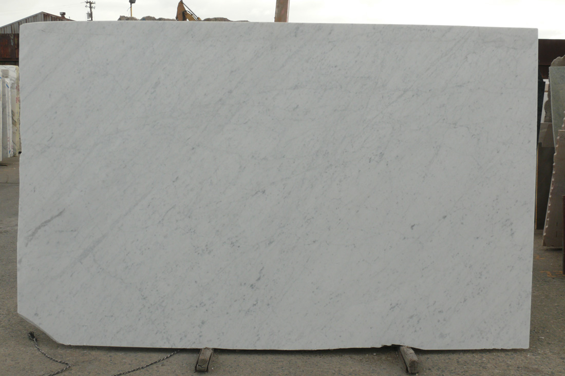 White Carrara Honed Marble Slab from Italy