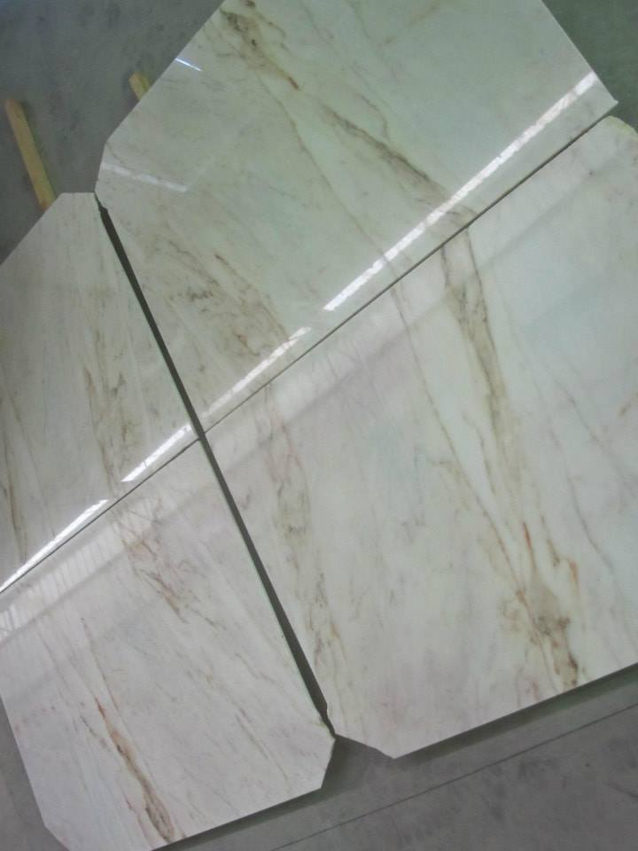White Estremoz Marble with Light Brown Veins