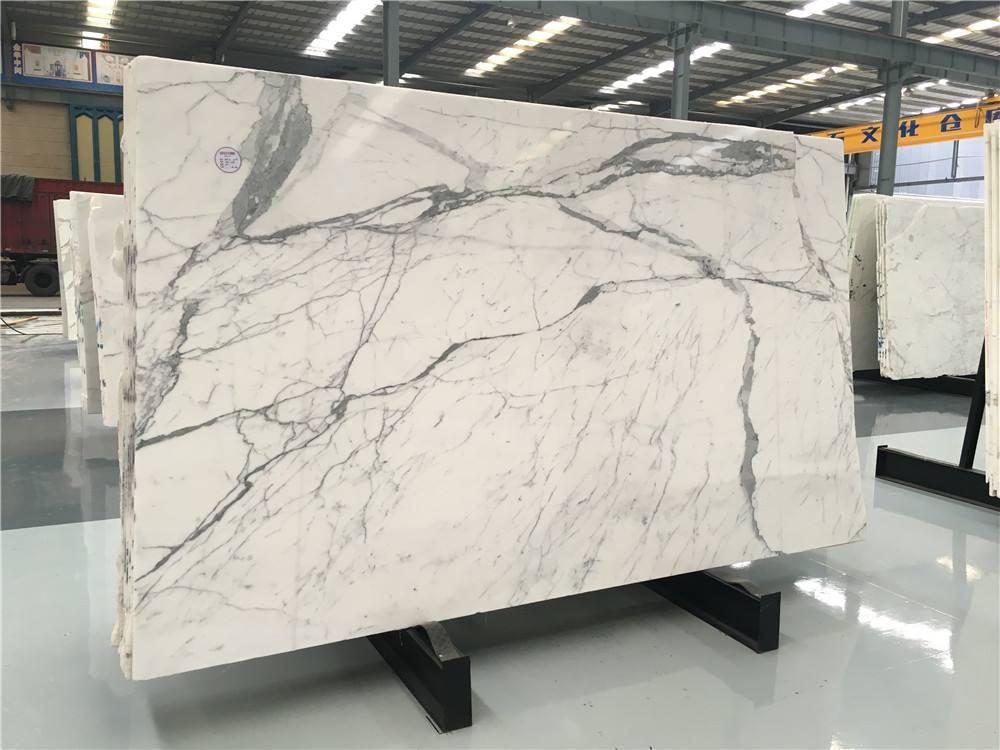 White Italian Marble Slabs Polished Statuario Slabs