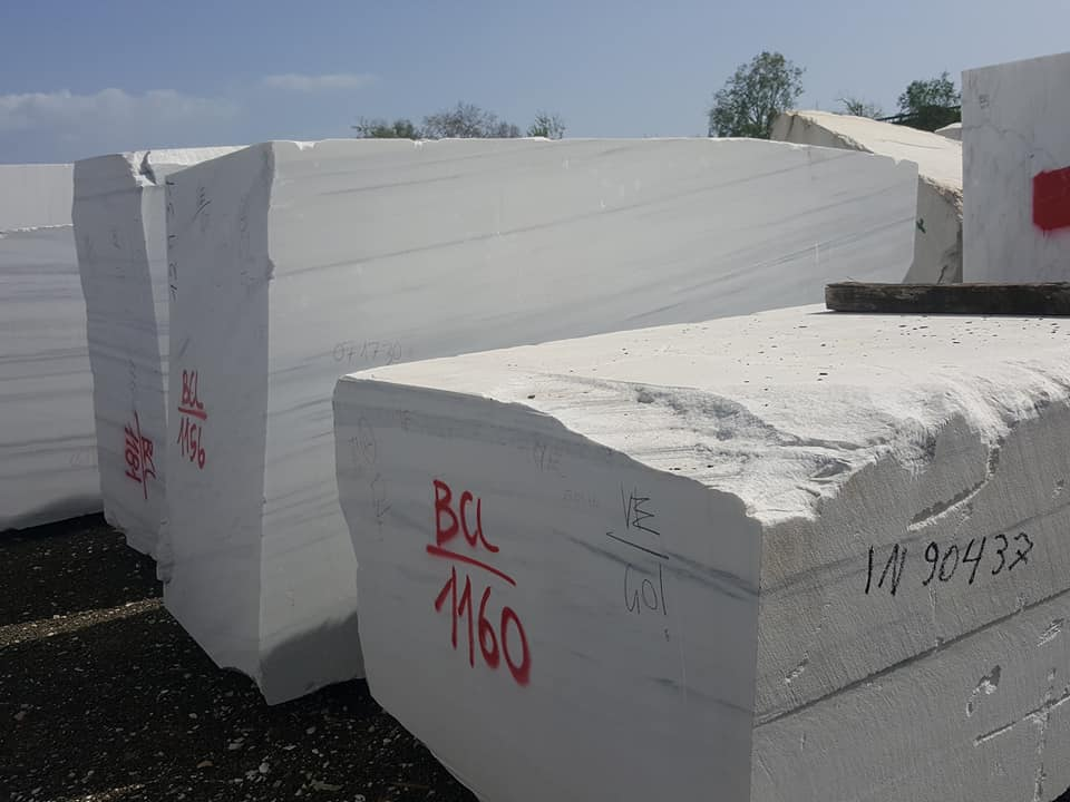 White Lasa Blocks Natural Marble Blocks