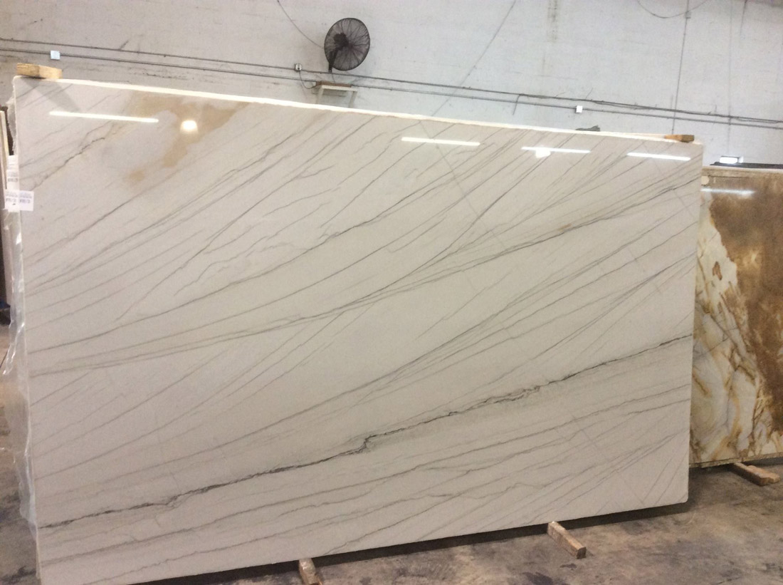 White Macaubas Quartzite Polished Slabs from Brazil