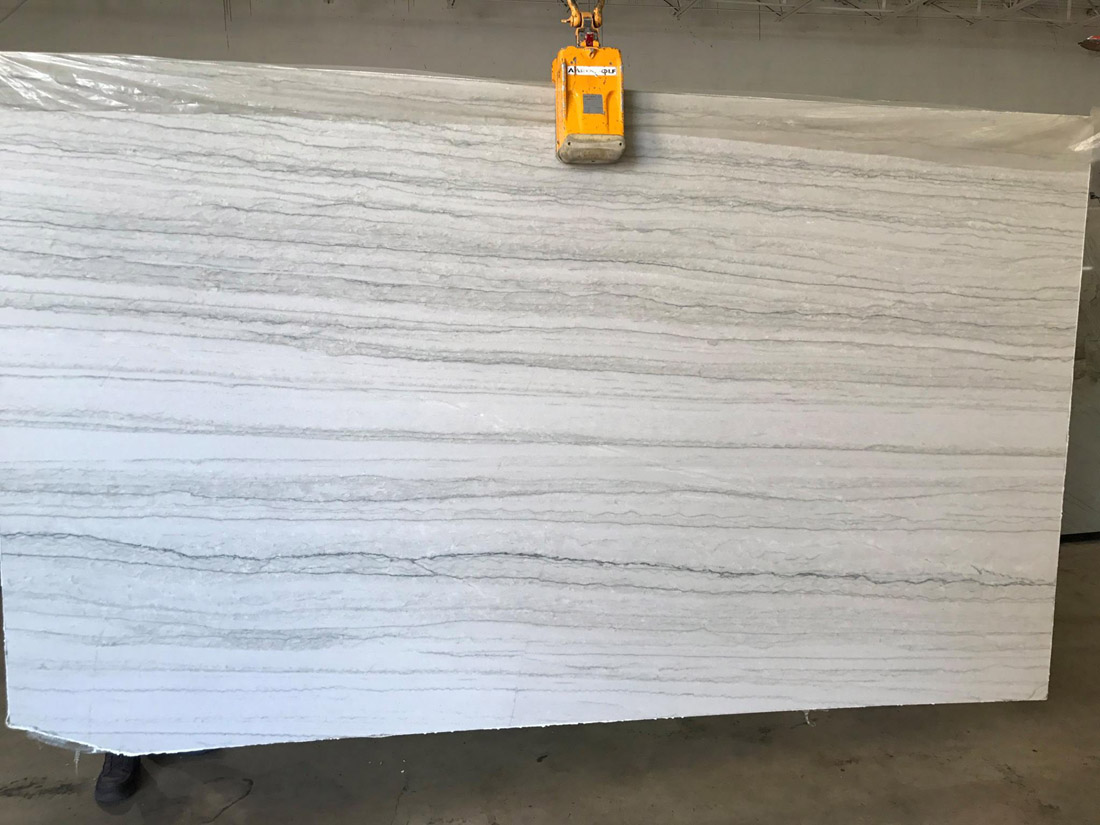 White Macaubas Quartzite Slabs Leather Finish