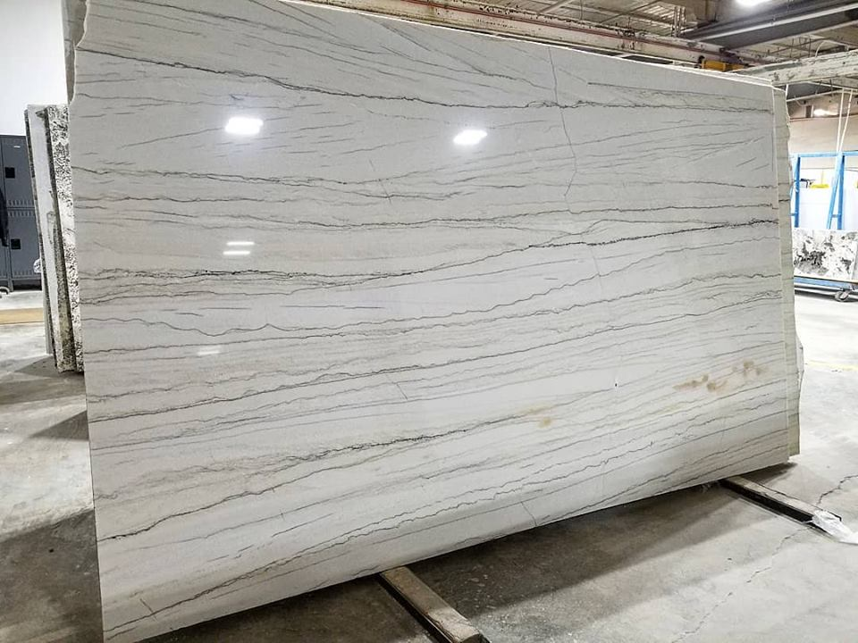 White Macaubus Quartzite Slabs Brazilian Polished Quartzite Slabs