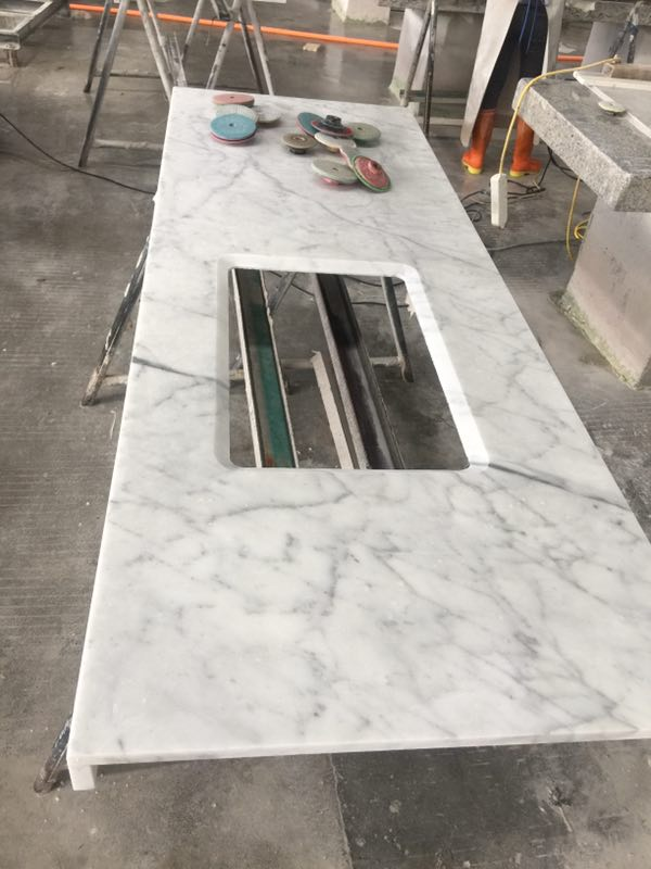 China Carrara White Marble Kitchen Countertops