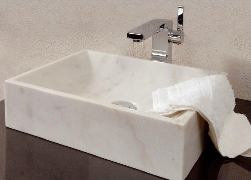 White Marble Polished Stone Sinks
