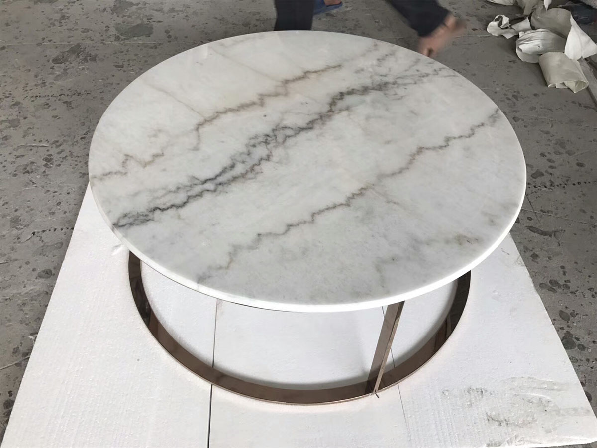 China Guangxi White Marble Round Table Countertop