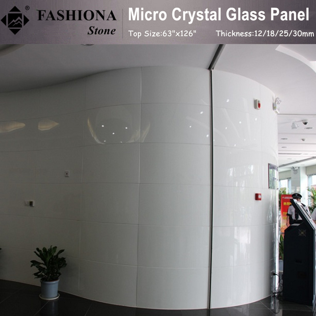 White Micro Crystal Glass Artificial Stone Walling Tiles