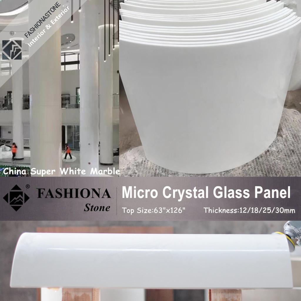 White Polished Micro Crystal Glass Stone Columns