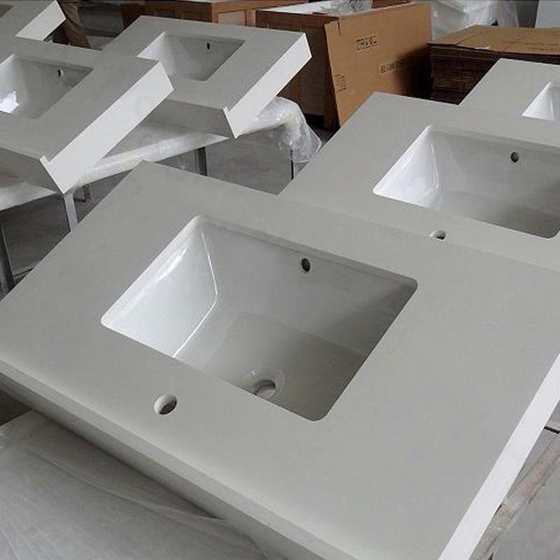 White Quartz Bathroom Vanity Tops