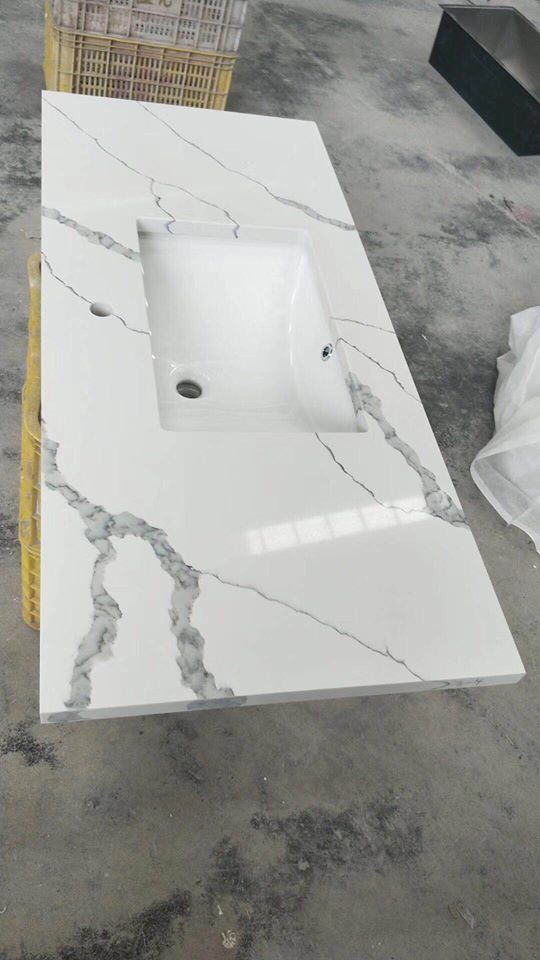 White Quartz Polished Bathroom Vanity Tops