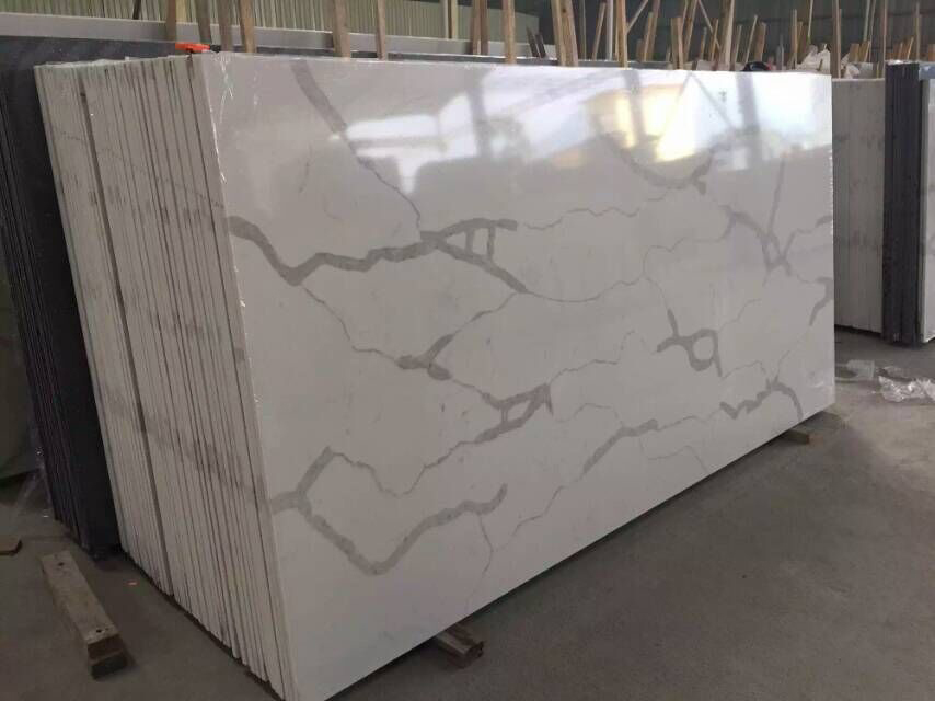 White Quartz Slabs Polished White Artificial Stone Slabs