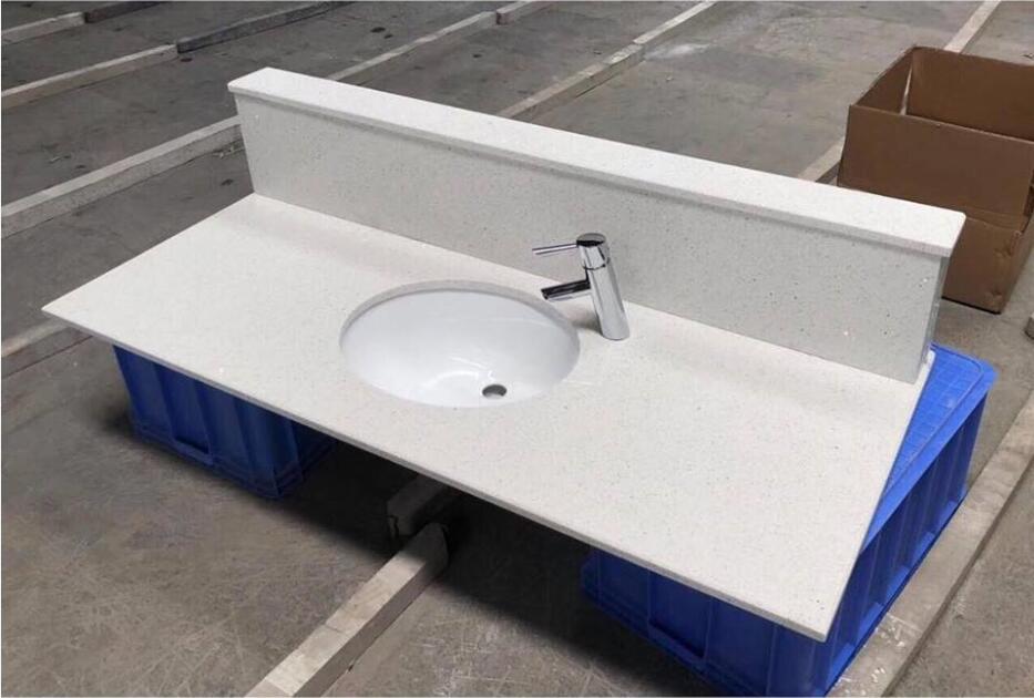White Recycled Glass Stone Bathroom Vanity Tops