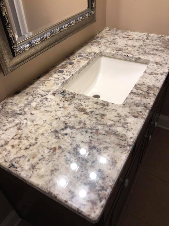 White Springs Granite Polished Bathroom Vanity Tops