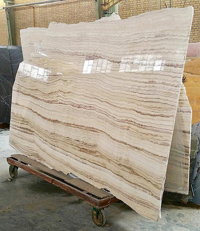 White Tiger Travertine Slabs Polished White Slabs from Iran