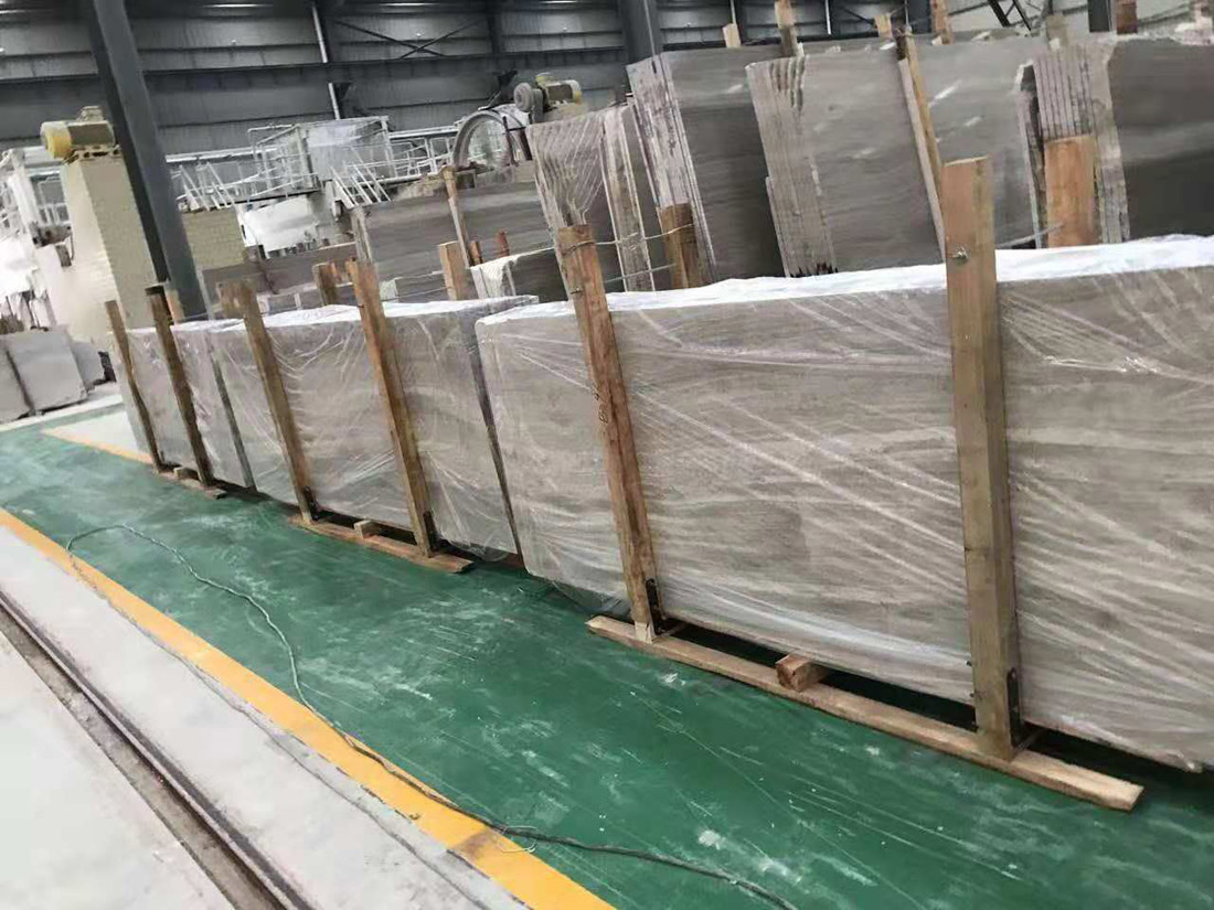 White Wood Grain Marble Slabs Polished White Marble Slabs