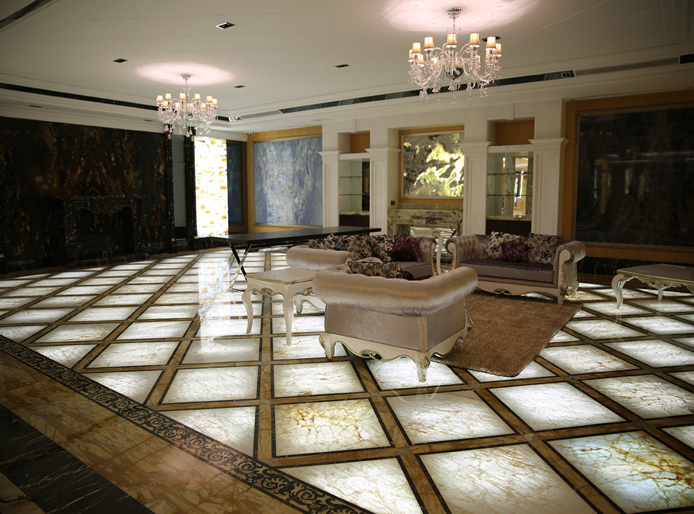 White Onyx Tile Floor