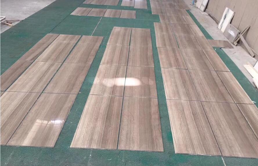 Wooden Coffee Tiles Polished Brown Marble Flooring Tiles