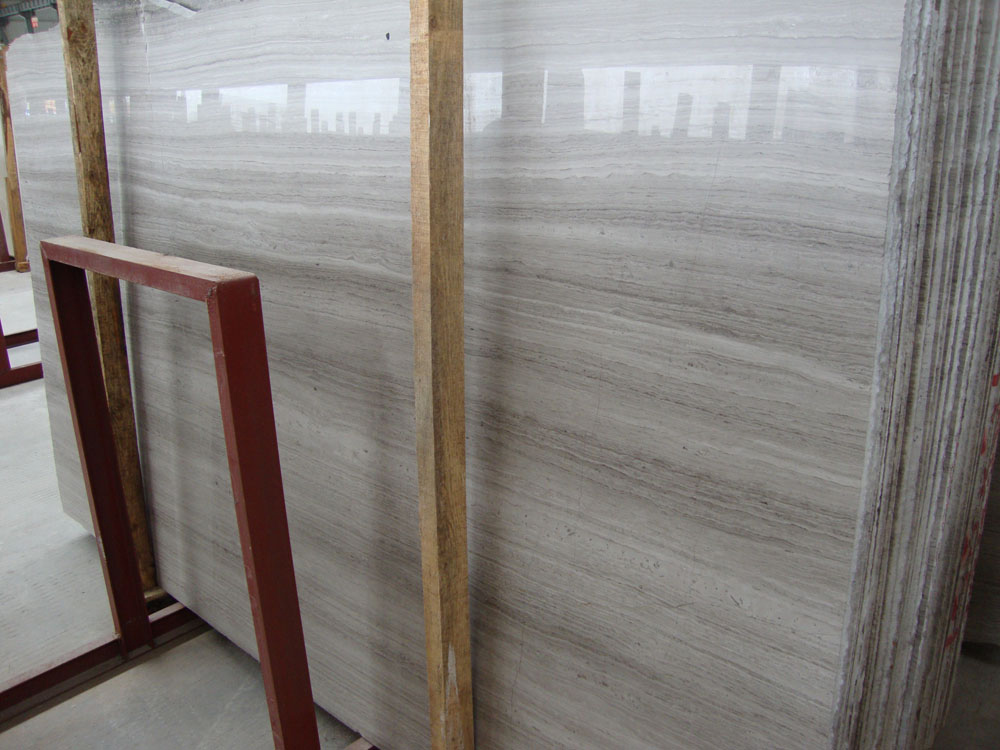 Wooden Grey Marble Polished Slabs
