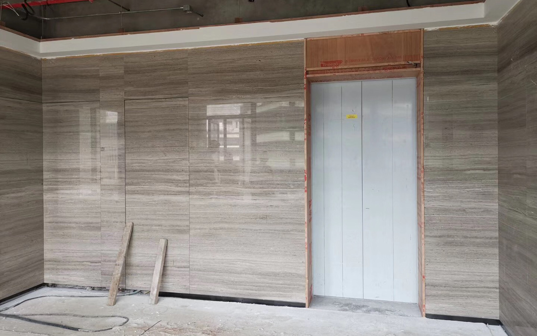 Wooden Grey Marble Tiles Polished Grey Marble Wall Stone