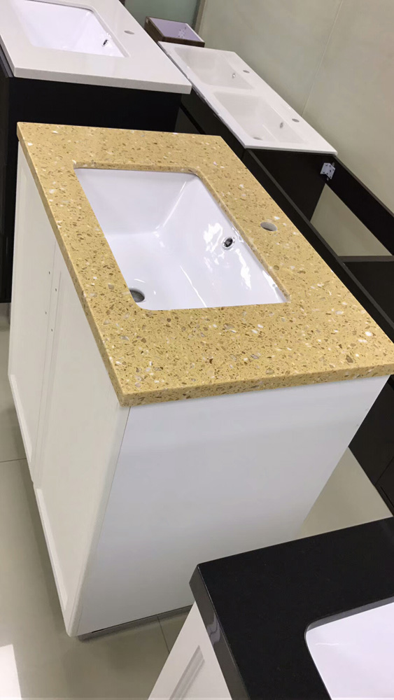 Yellow Quartz Stone Vanity Tops