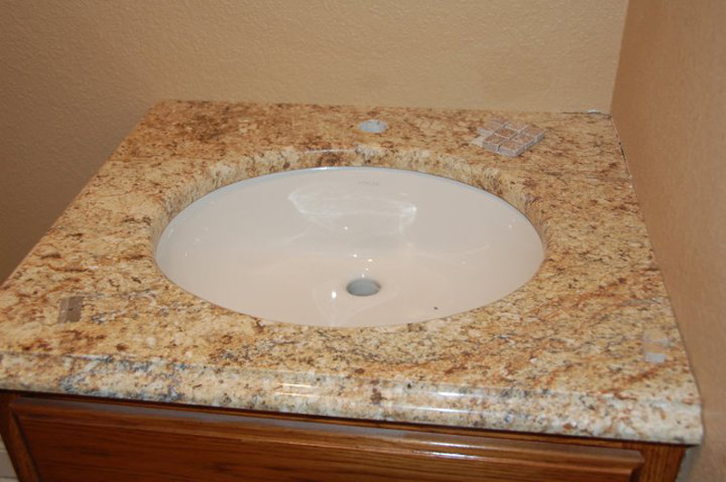 China Ask Price Yellow River Granite Vanity Tops For Bathroom