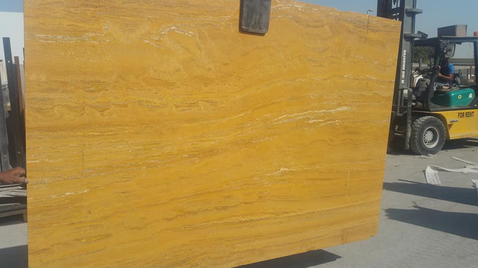 Yellow Travertine Slabs Filled and Polished Travertine Slabs