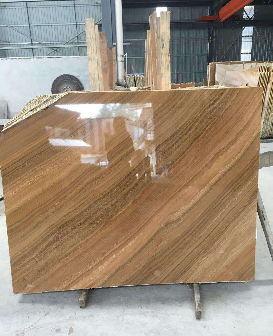 Yellow Wooden Marble Slabs from Chinese Supplier