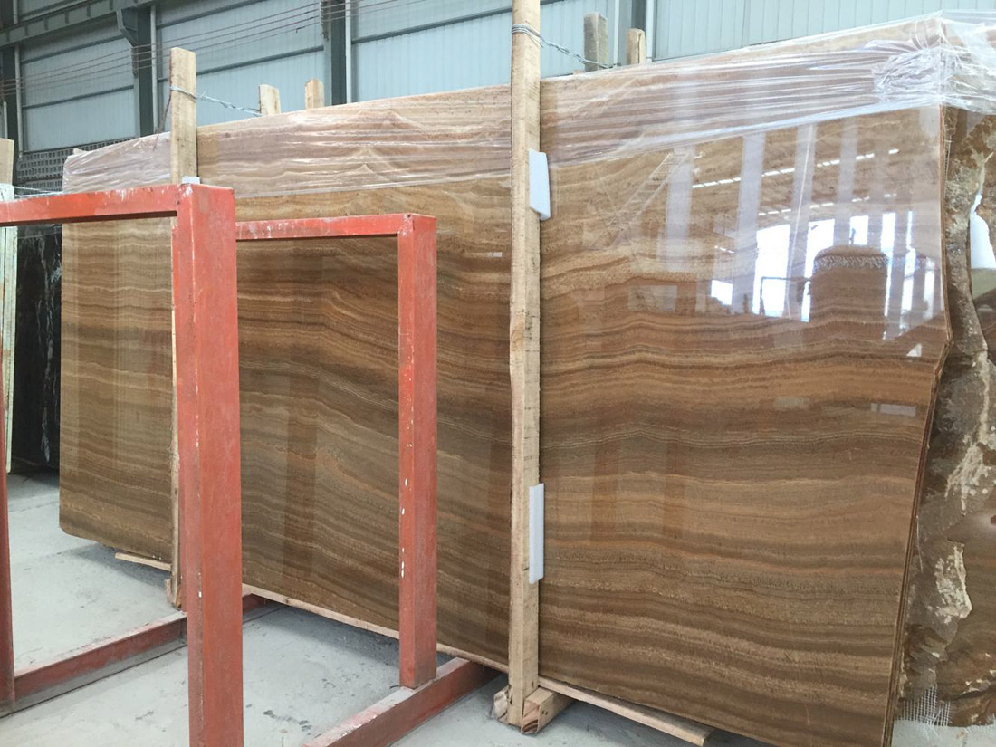 Yellow Wooden Slabs Polished Marble Stone Slabs