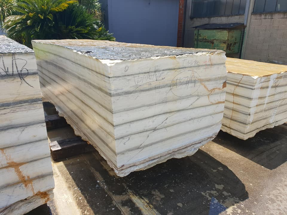 Zebrino Blocks White Marble Natural Blocks