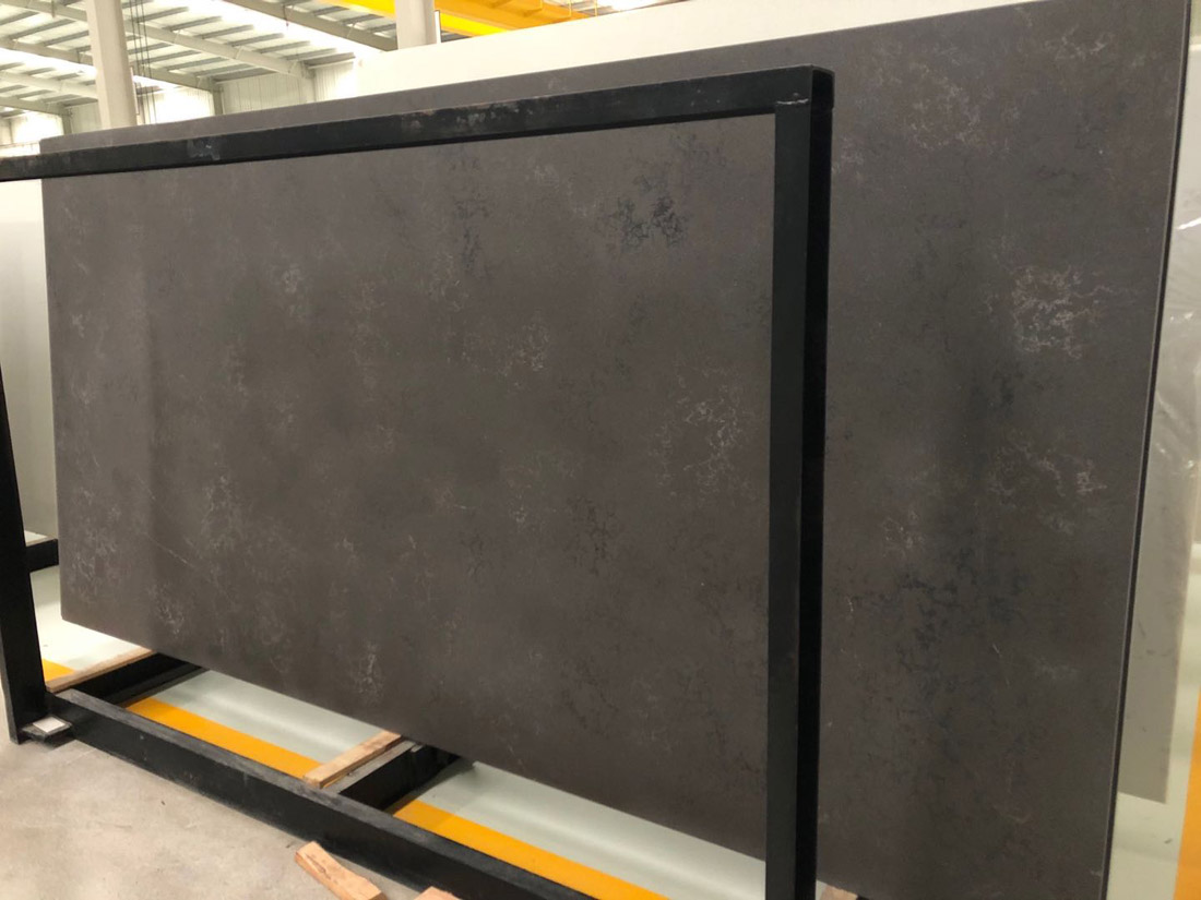 balck quartz slab quartz countertop 2003 leather