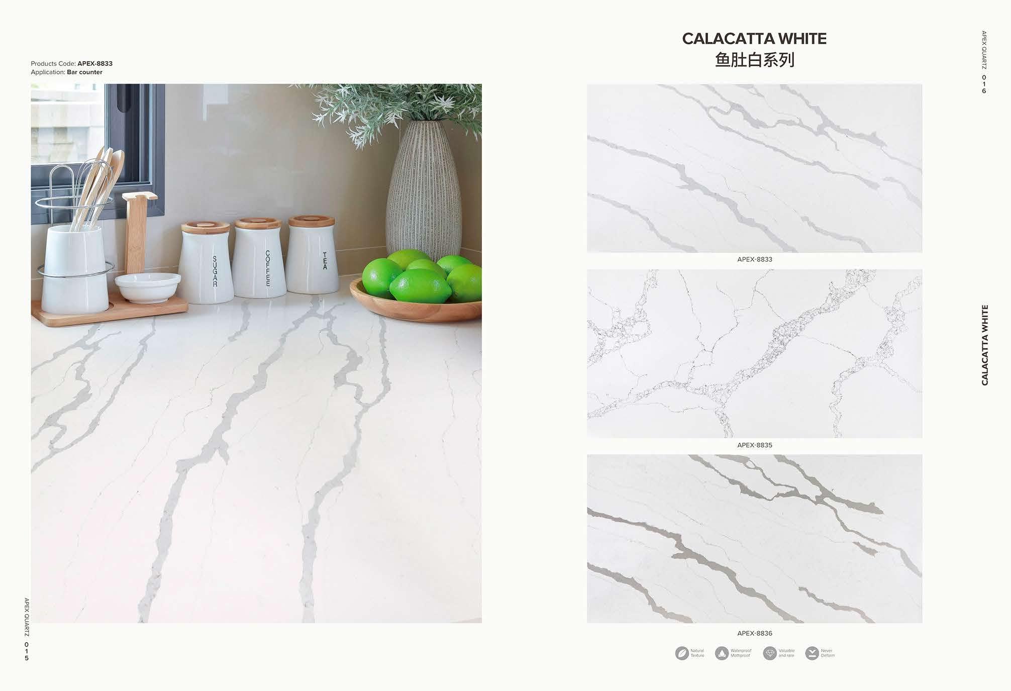 calacatta white quartz stone 1