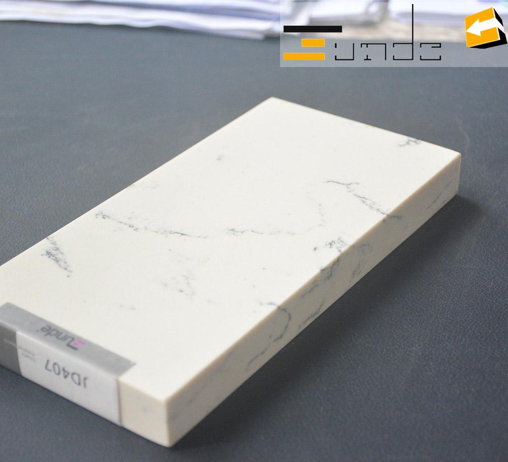 calacatta white quartz stone sample jd407-3