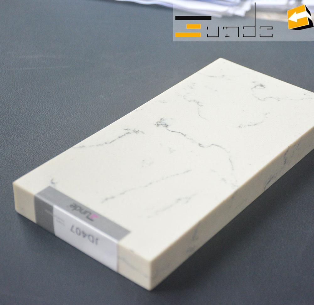 calacatta white quartz stone sample jd407-4