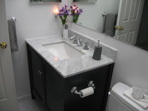 white marble vanity countertop