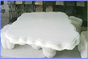 white marble stone table