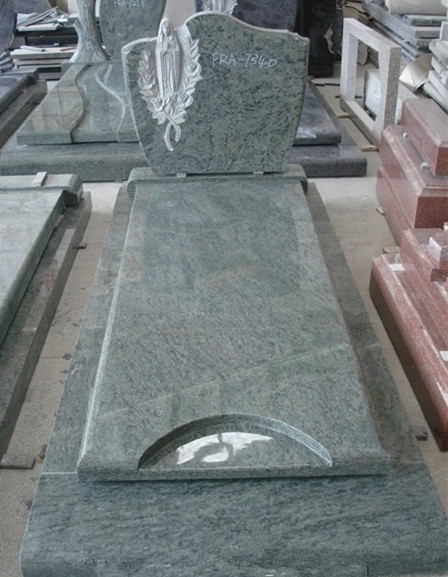 New granite headstone with slab