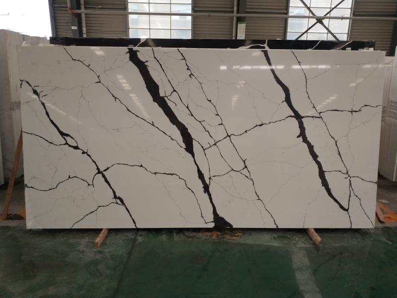 Artificial type calacatta white quartz stone