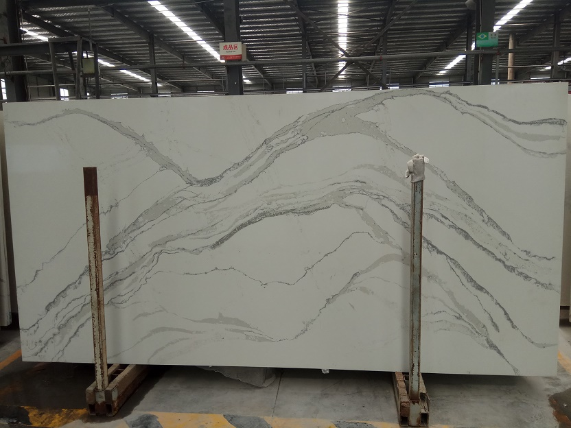 Marble like calacatta artificial quartz stone slabs
