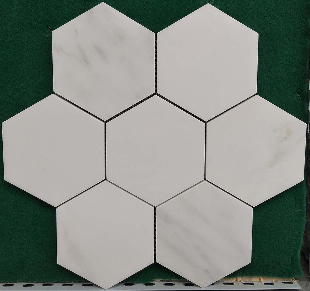 Hexagon Natural White Marble Mosaics