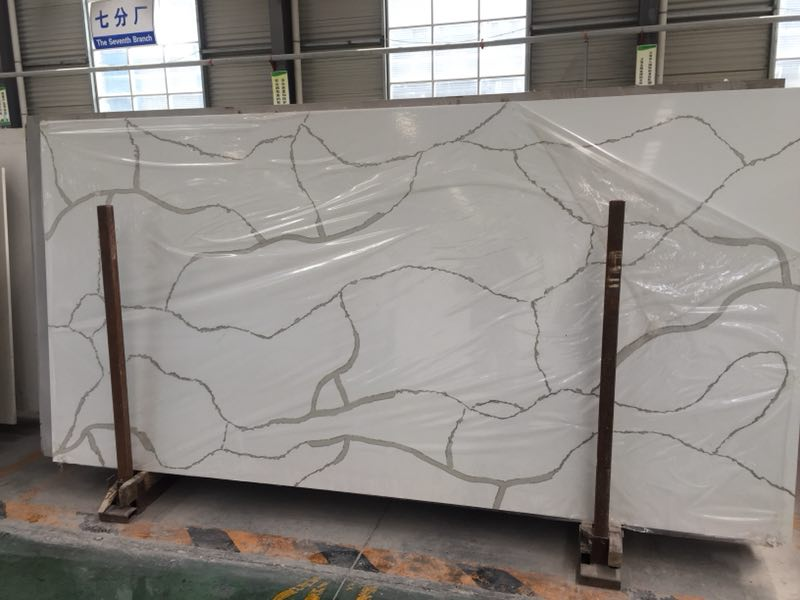 Marble Like Grey Lines Artificial Quartz Stone Slabs