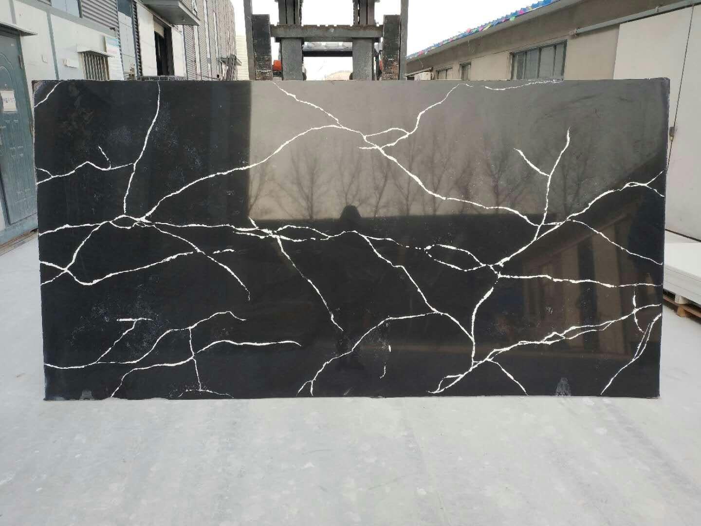 Calacatta black quartz slabs