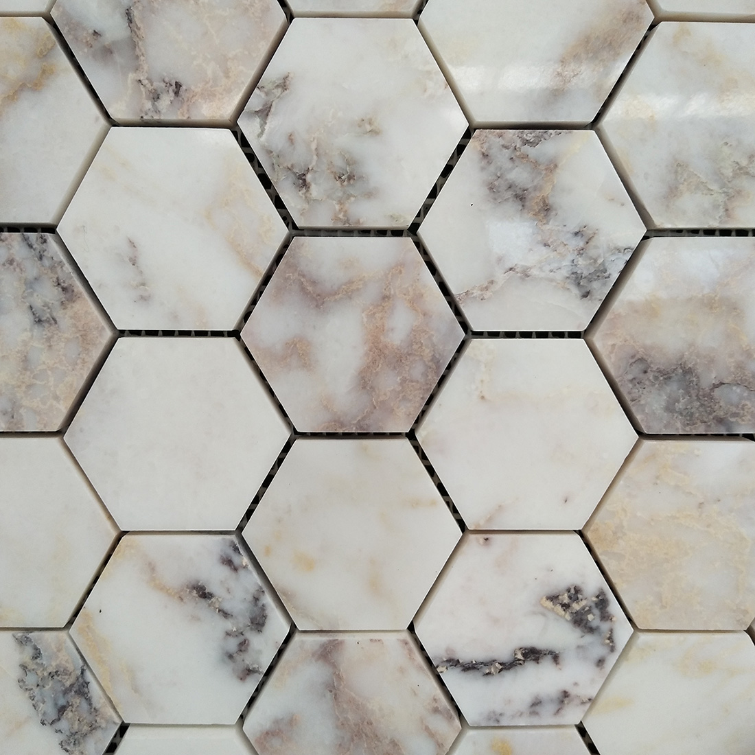 Hexagon natural stone mosaic tiles purple